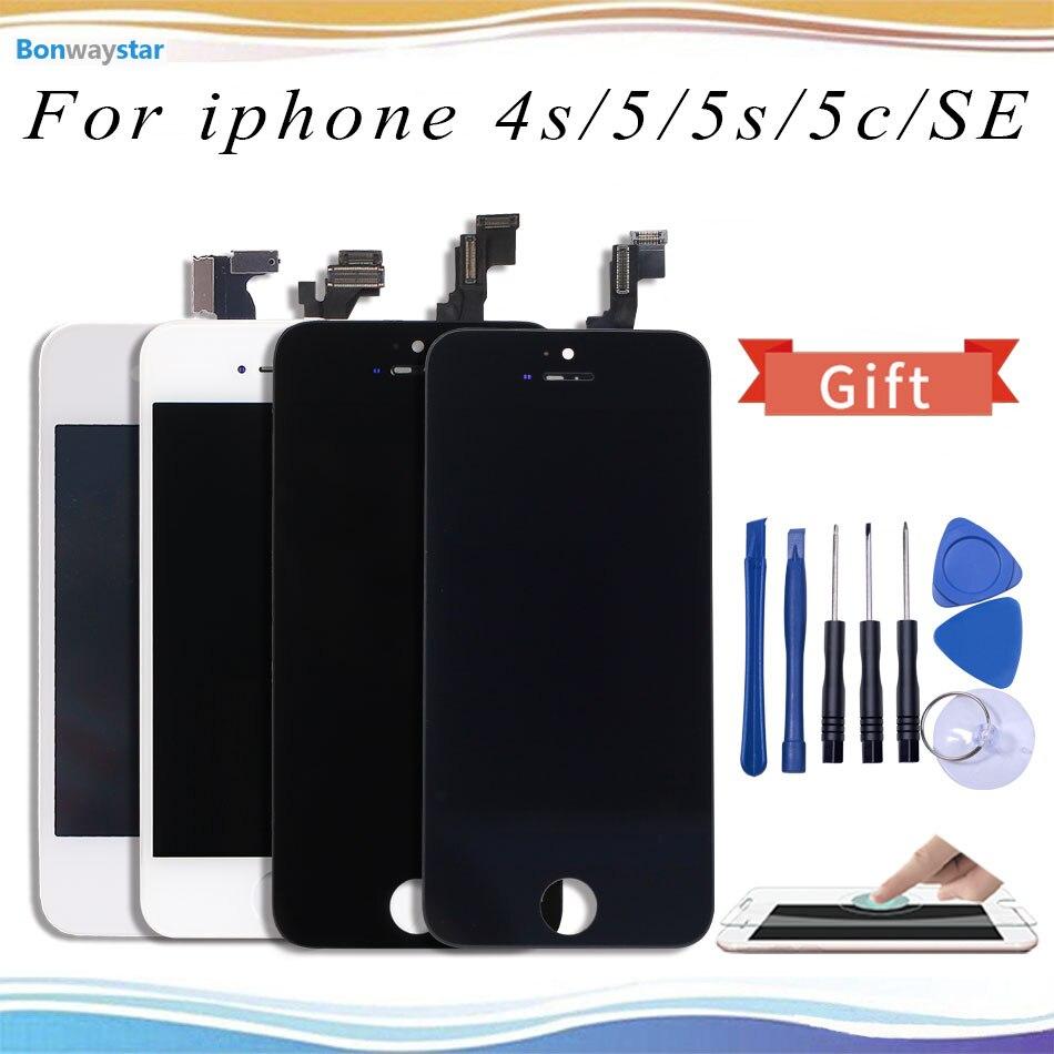 Color blanco negro pantalla LCD para iPhone 5 5S reemplazo de la pantalla táctil AAA + + + calidad No píxel muerto LCD para iPhone 4S 5c SE