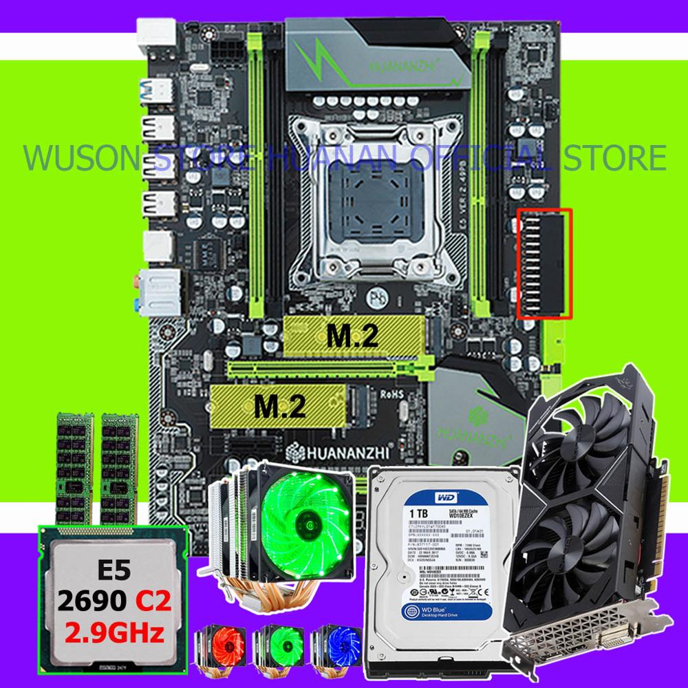 Discount new HUANANZHI X79 Pro motherboard with CPU Xeon E5 2690 C2 2.9GHz RAM 16G(2*8G) video card GTX1050Ti 4G 1TB SATA3.0 HDD Motherboards     - title=