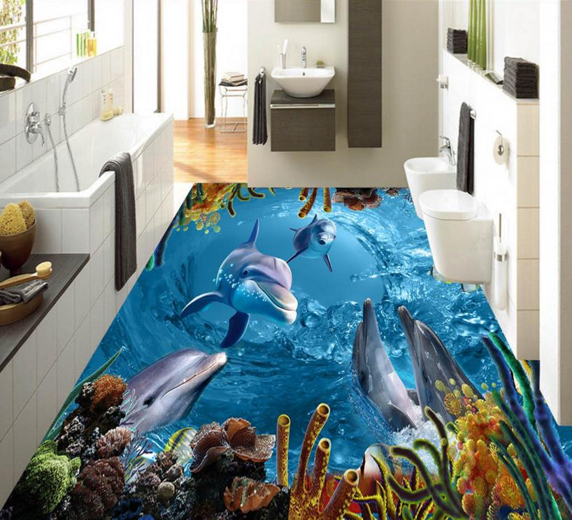 Custom 3d Flooring Dolphin Lagoon 3d Wallpaper Floor PVC Self-adhesive Non-slip Wear 3d Photo Wallpaper high quality 3d flooring vinyl custom 3d floor bathroom landscape non slip wear thickend self adhesive wallpaper