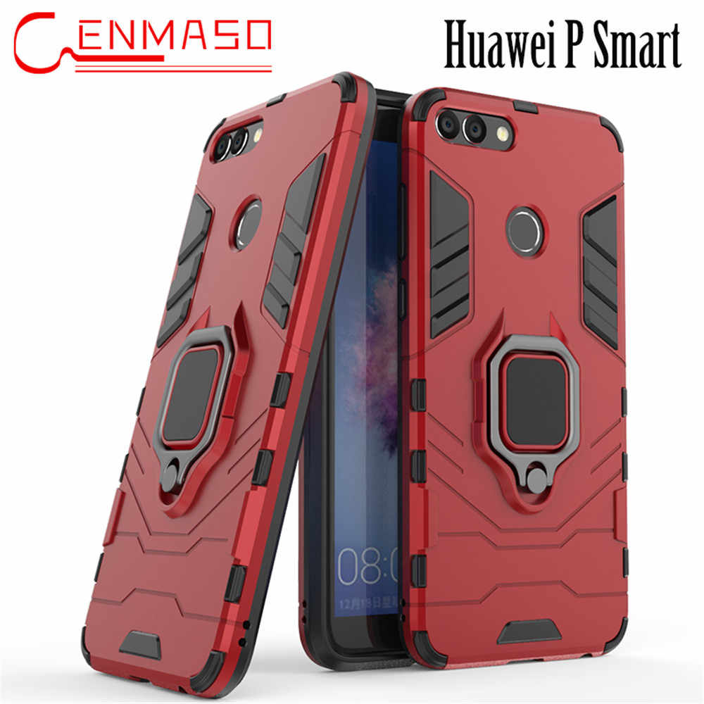 Huawei P Smart Z case silicon Rubber + PC armor cover Huawei P smart Plus 2019 phone back case cover metal finger ring holder
