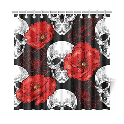 Aplysia Vintage Sugar Skull Red Poppy Flower Floral Fabric Shower Curtain Bathroom Curtains In From Home Garden On Aliexpress