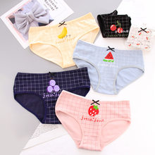 759079414cbd New Women's panties cotton girl briefs Strawberry watermelon cherry print  underwear female cute lingerie Grid Panty