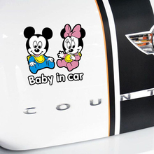 Aliauto Baby In Car Sticker and Decal Mickey Minnie Warning Accessories for BMW Mercedes Opel Renault Peugeot 206 307 Mazda 3 6