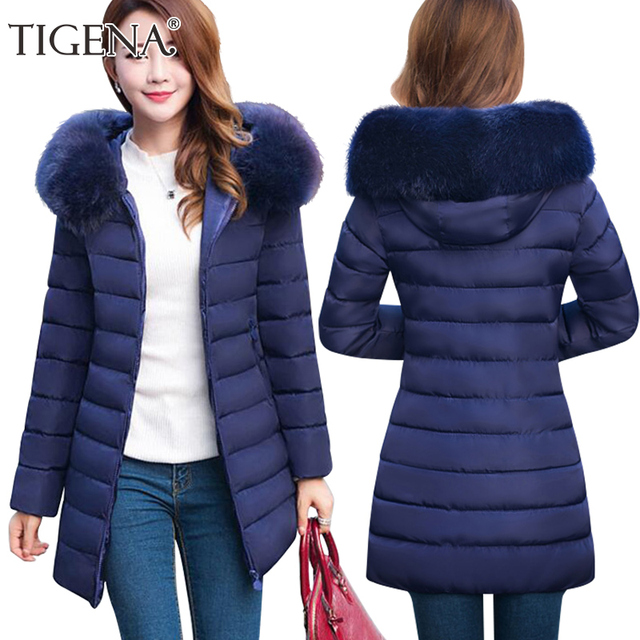 TIGENA Plus Size 4XL Fur Collar Hooded Parkas Women 2017 Hooded Women's Winter Jacket Coat Female Thick Warm Quilted Coat