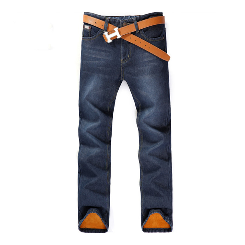 2016 new arrival jeans men s straight cotton elasticity men s warm jeans high quality Comfortable