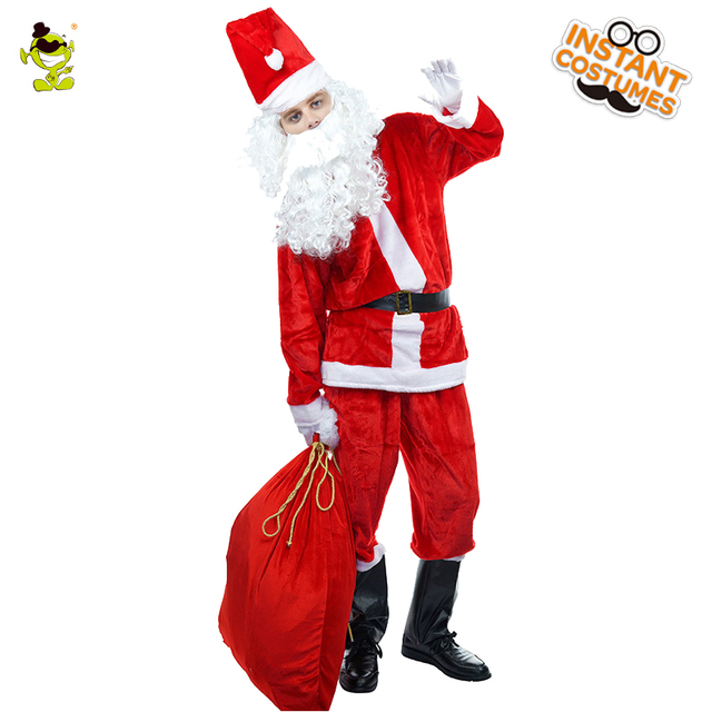 2018 mens happy christmas santa claus costume christmas party with long beard fancy dress role play - Santa Claus Coat