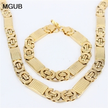 MGUB Two color Gold color Rope Chain Necklace Set  Jewelry Wholesale 316L Stainless Steel Necklace Bracelet Men Jewelry  HY144