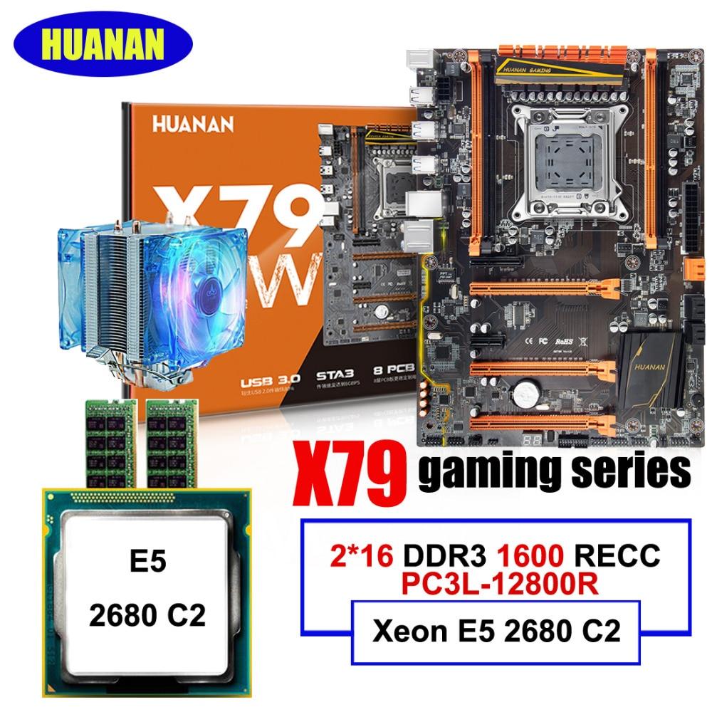 Nouveauté nouvelle carte mère HUANAN ZHI deluxe X79 LGA2011 Intel Xeon E5 2680 C2 2.7GHz RAM 32G (2*16G) DDR3 1600MHz REG ECC