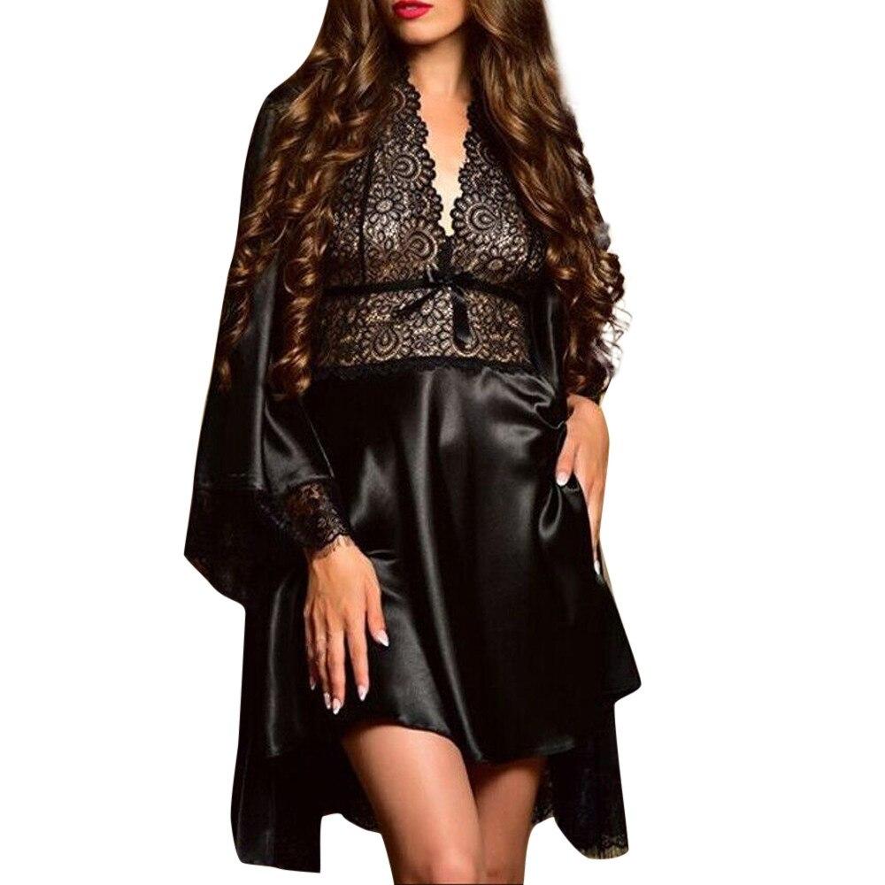 2019 2pcs Women Sexy Satin Lace Sleepwear Babydoll Lingerie Nightdress Pajamas Set lingerie pyjamas women lingerie Hot Sale 35