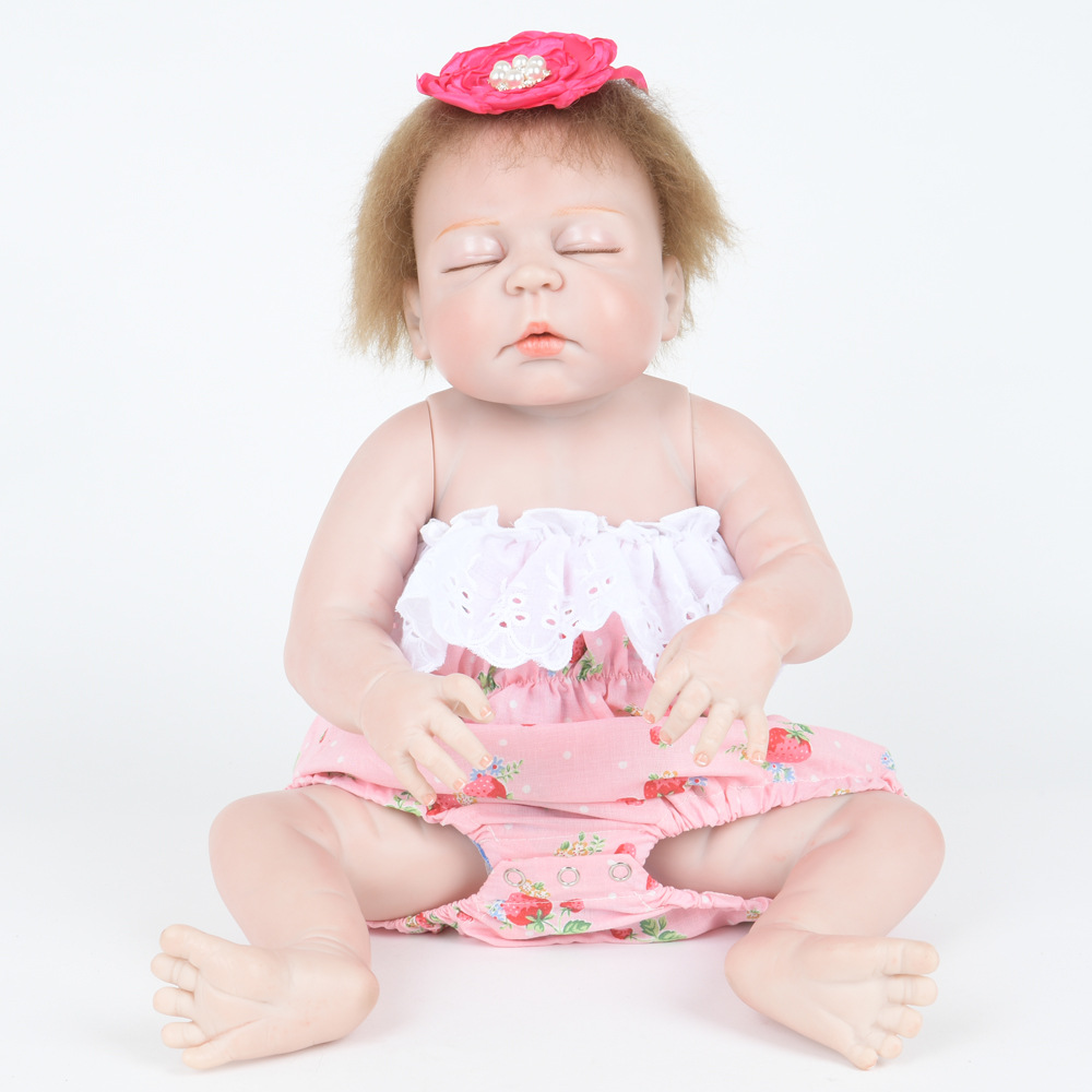 55cm Soft Full Silicone Vinyl Reborn Baby Doll Closed Eyes Girl Dolls for Children Kids Toy Birthday Xmas New Year Gift 22 inch soft full silicone vinyl reborn baby doll lovely sleeping girl dolls for children kids toy birthday xmas new year gift