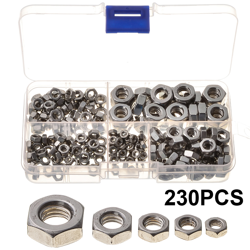 230PCS Hexagon Socket Screws Nuts Stainless Steel Automobile Components M3/M4/M5/M6/M8 Tools Accessories Fasteners Set jtron m4 x 16 gold plated hexagon socket speakers screws red gold 4 pcs