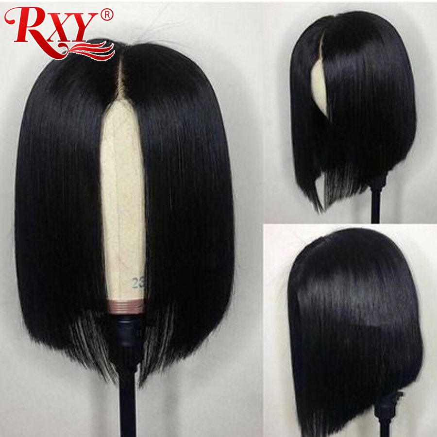 RXY Short Bob Wig Brazilian Remy Short Human Hair Wigs For Black Women 150% 12x6  Pre Plucked Bob Lace Front Human Hair Wigs
