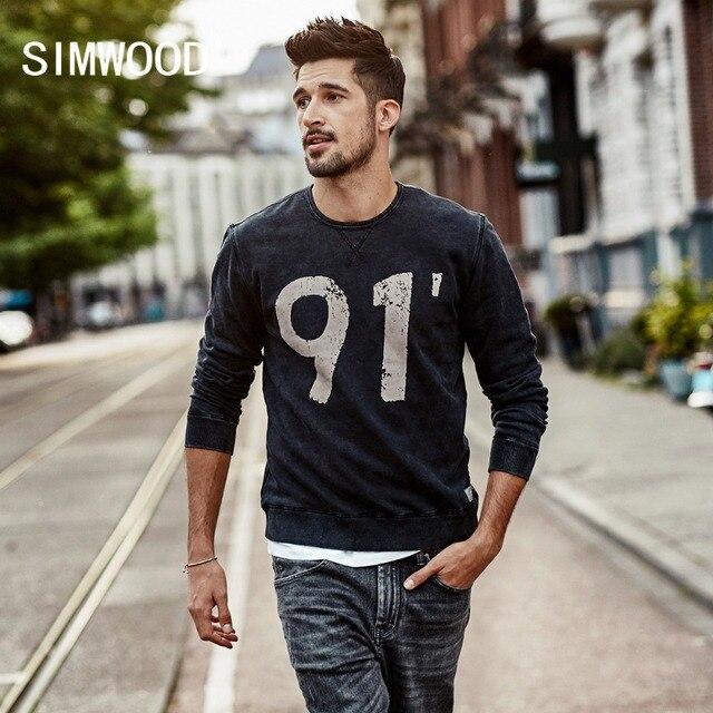 SIMWOOD Новинка весны 2019 года толстовки для мужчин Винтаж номер Slim Fit пуловер с длинными рукавами кофты спортивный костюм высокое качество WT017006