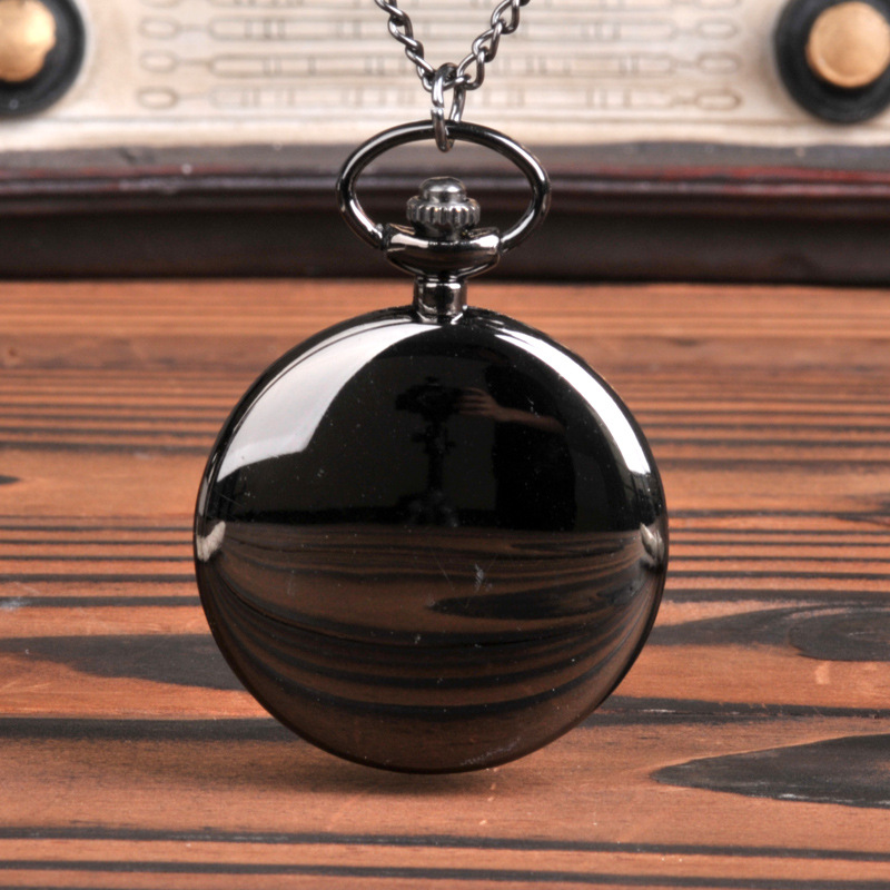 Smooth And Bright Fashion Retro Two-faced Pocket Watch Silver Pocket Watch With Necklace Pocket Watch Two Colors To Choose