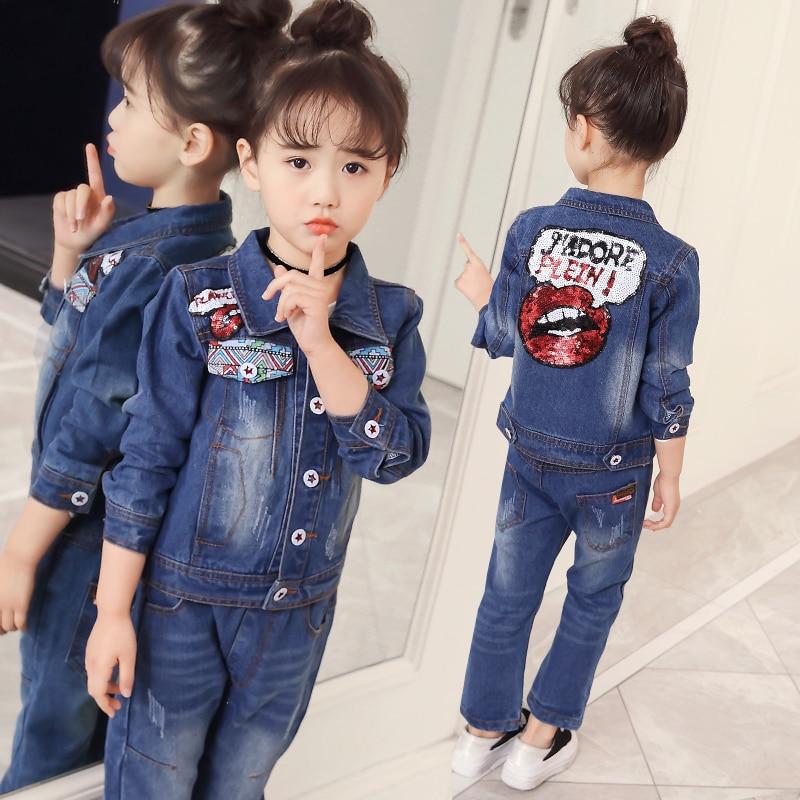 Teenagers Girls jeans Clothes Suit kids Clothing Set Cotton Boy Clothes Denim Jeans Coat jacket+ Pants 2PCS letter Tracksuit
