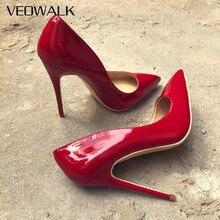 Veowalk Women's Sexy Red Patent Leather High Heels Pointed Toe Pumps Ladies Wedding Stilettos