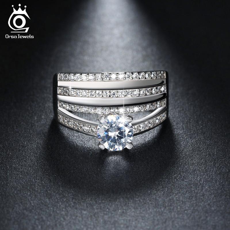 Sinnvoll Einzigartige Luxus 4 Reihen Charming Österreichischen Zirkon Verlobungsring Für Frauen Mode Silber Ringe Schmuck Geschenk Or110 Schmuck & Zubehör