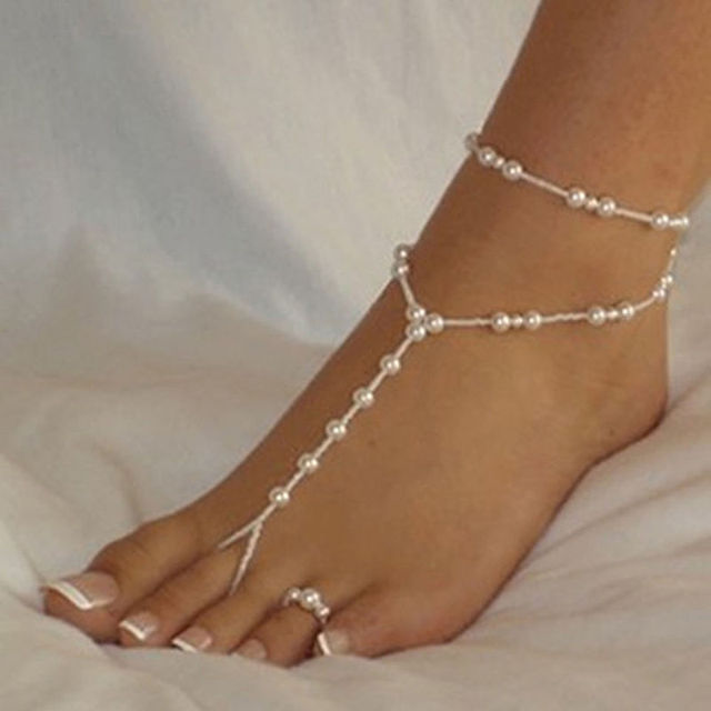 1 Set Fashion Pearl Anklet Women Ankle Bracelet Beach Imitation Barefoot Sandal Chain Foot