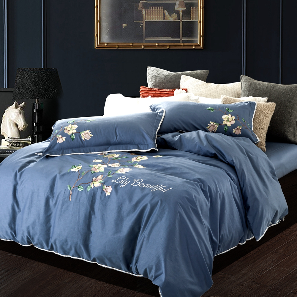 Elegant pillowcase bedding light blue bed sheet floral embroidered duvet  cover queen king size bedding. Online Get Cheap Light Blue Bedding  Aliexpress com   Alibaba Group