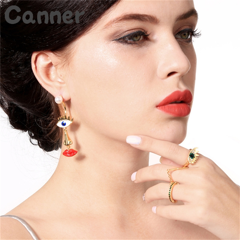 Canner Drop-Earrings Women Lady Evil For Punk Eye-Charm Gifts Lip A40 Red Unique