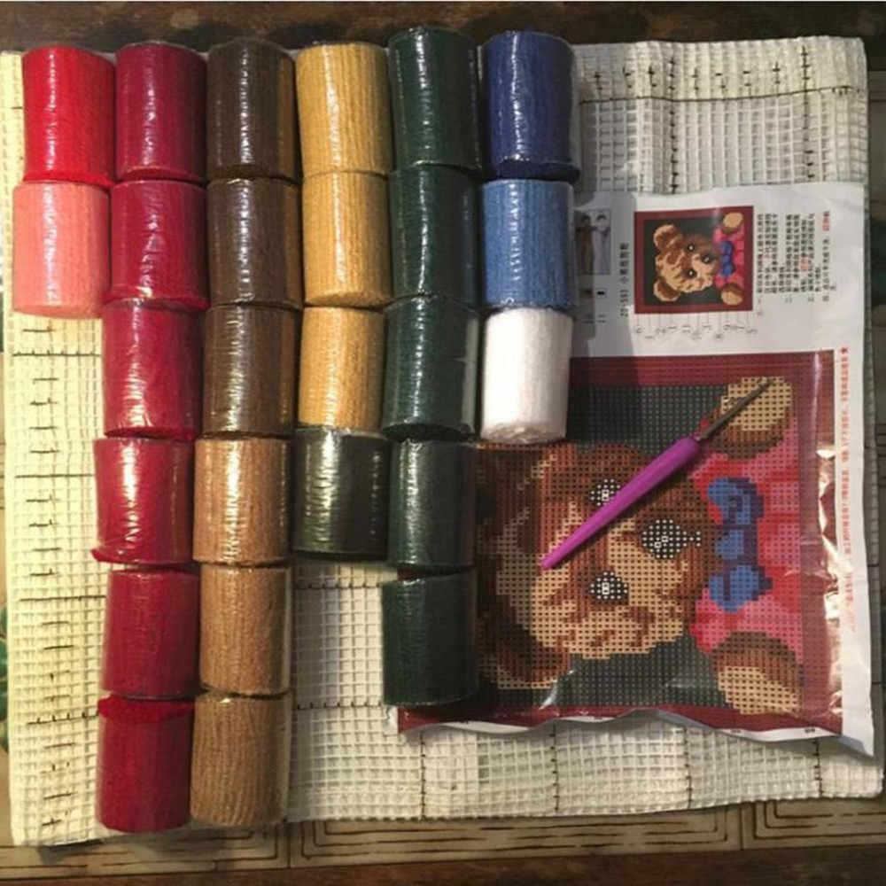 """Almohada """"hágalo usted mismo"""" Método del kit de costura kit para alfombra de aguja de lengüeta Unfinshed/alfombras bordadas patrón de oso Animal de dibujos animados"""