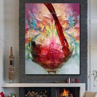 יד 100% משלוח חינם צבוע ציור שמן עדיין חיים יין אדום בית תפאורה המופשט וול אמנות קישוט הבית דקורטיבי ללא מסגרת