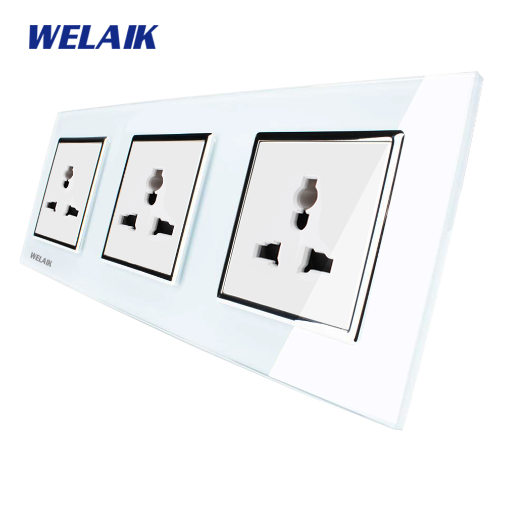 WELAIK Glass Panel Wall Socket Wall Outlet White European Standard Multifunction Power Socket AC110~250V A38MU8MU8MUW/B welaik glass panel wall socket wall outlet white black european standard power socket ac110 250v a38e8e8ew b
