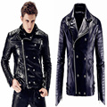 Plus size Men's Fashion slim Motocycle genuine Leather Jacket Outwear Nightclub male singer dj stage performance wear stars