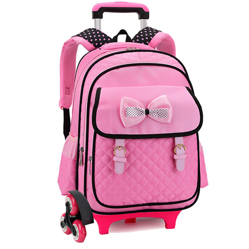 Designer Brand Primary Elementary Girls Bowknot 3 wheels Stair Trolley School Book Bags Draw-Bar Box Suitcase Backpack Mochila mainpoint 1 4 1 2 3 8 e socket sockets set cr v torx star bit combination drive socket nuts set for auto car repair hand tool
