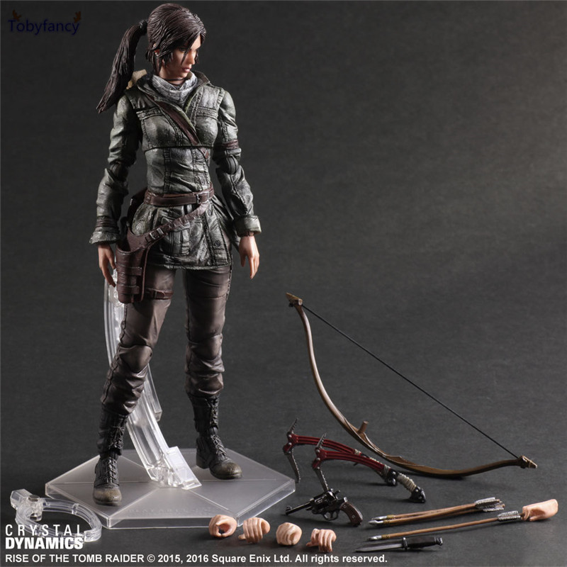 Tobyfancy The Tomb Raider Action Figure Lara Croft Play Arts Kai Toys 270mm Anime Movie Toys Rise of The Tomb Raider game 26 cm rise of the tomb raider lara croft variant painted figure variant lara croft pvc action figure collectible model toy
