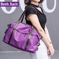 2016 обновленная версия новый натуральной ручкой матовый хром оборудования водонепроницаемый нейлон вскользь мешок руки женщин-фиолетовый сумочка