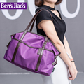2016 upgraded version new cowhide handle brushed chrome hardware waterproof nylon casual hand bag women business purple handbag