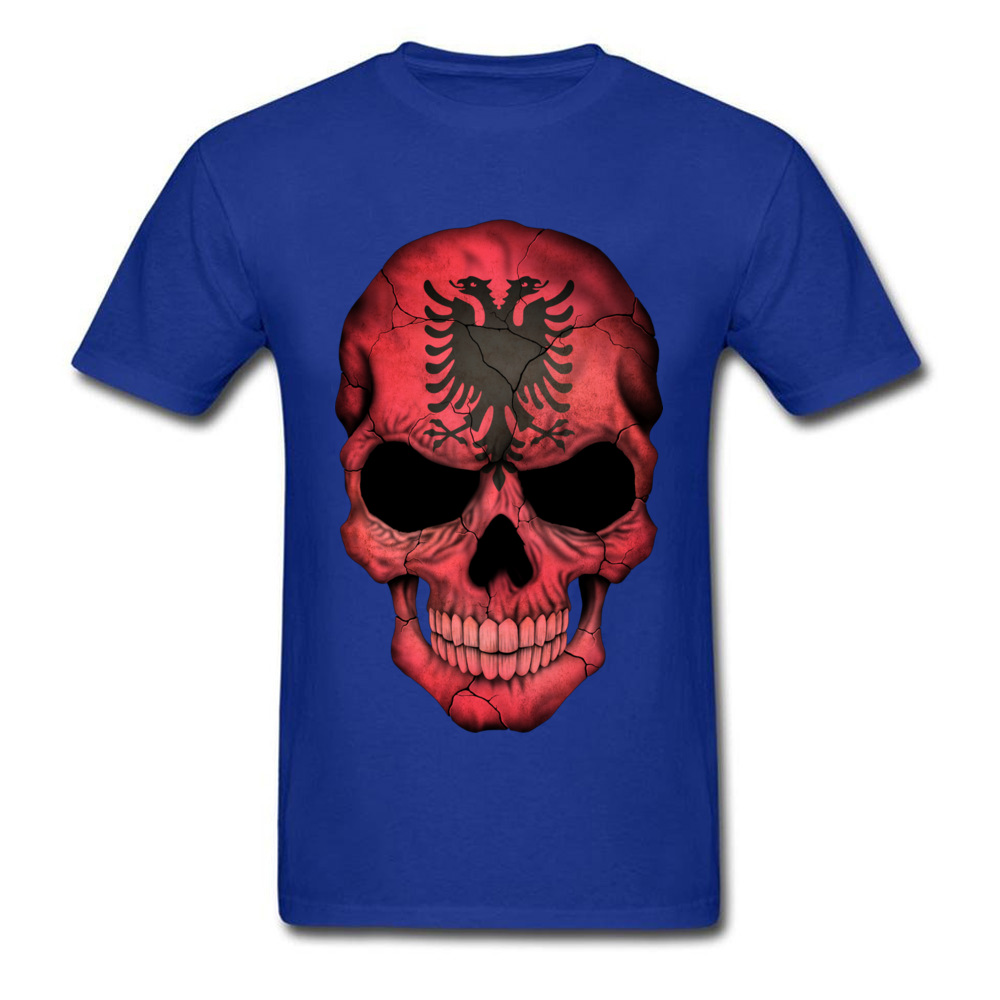 Albanian Flag Skull O-Neck T-Shirt NEW YEAR DAY Tops Tees Short Sleeve On Sale Cotton Casual Tops T Shirt Birthday Men's Albanian Flag Skull blue