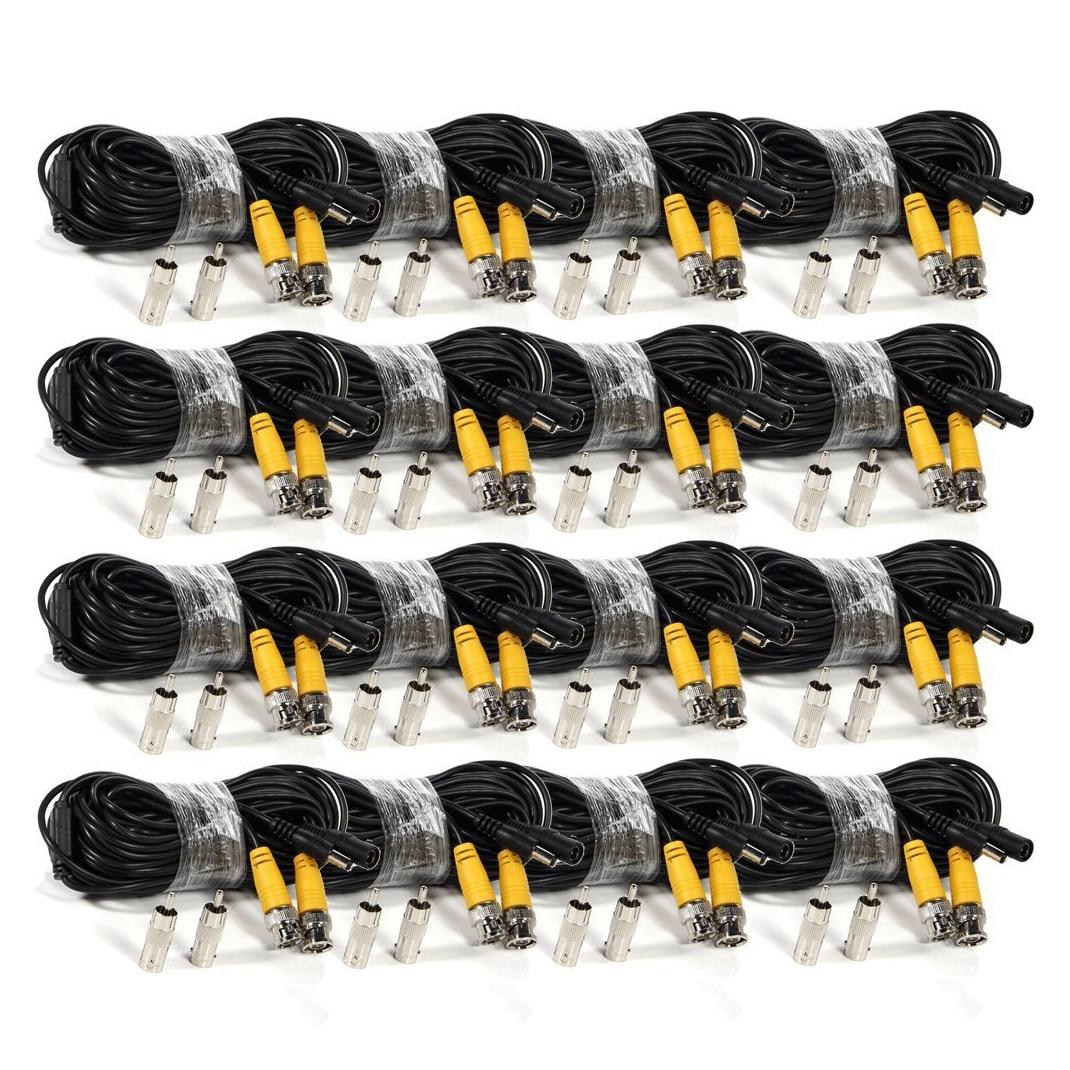 5 paquets 16 Pack 50 pieds vidéo câble d'alimentation BNC sécurité caméra câble fil cordon pour cctv surveillance DVR système noir