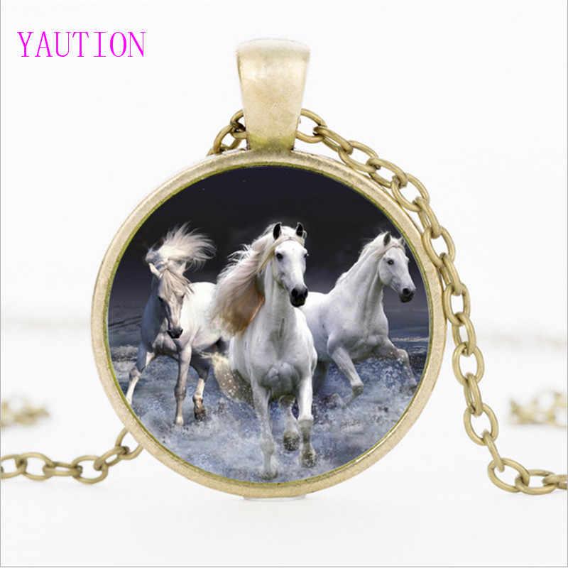 3 цвета белый Единорог Лошадь стекло кабошон с фото ожерелье винтажная лошадь искусство кулон стеклянные ювелирные изделия, украшение на свитер, ожерелье