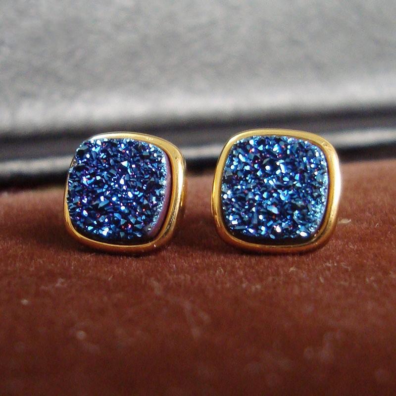 Brazil Hot Design Female Druzy Bijoux Gold Plated Round Blue Quart Natural Agate Druzy Earrings Fashion Stud Earrings for Women