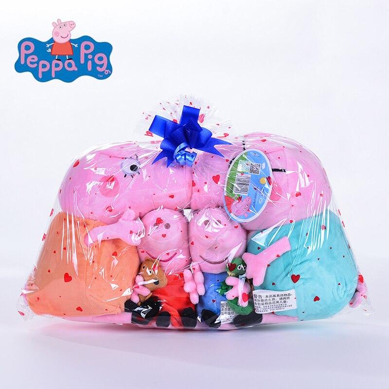 Подлинная 4 шт. 19-30 см розовый Peppa Pig плюшевые свинья игрушки высокого качества горячая Распродажа мягкие мультфильм животных кукла для детских подарков