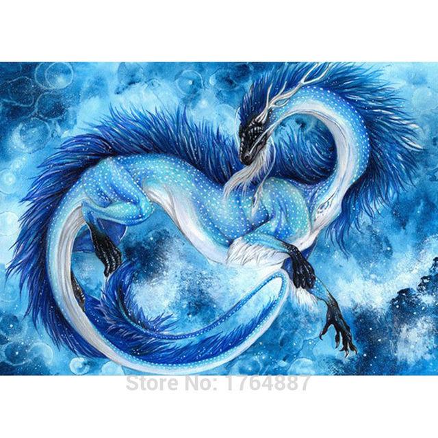 Needlework diy diamond painting cross stitch blue dragon - Images de dragons ...
