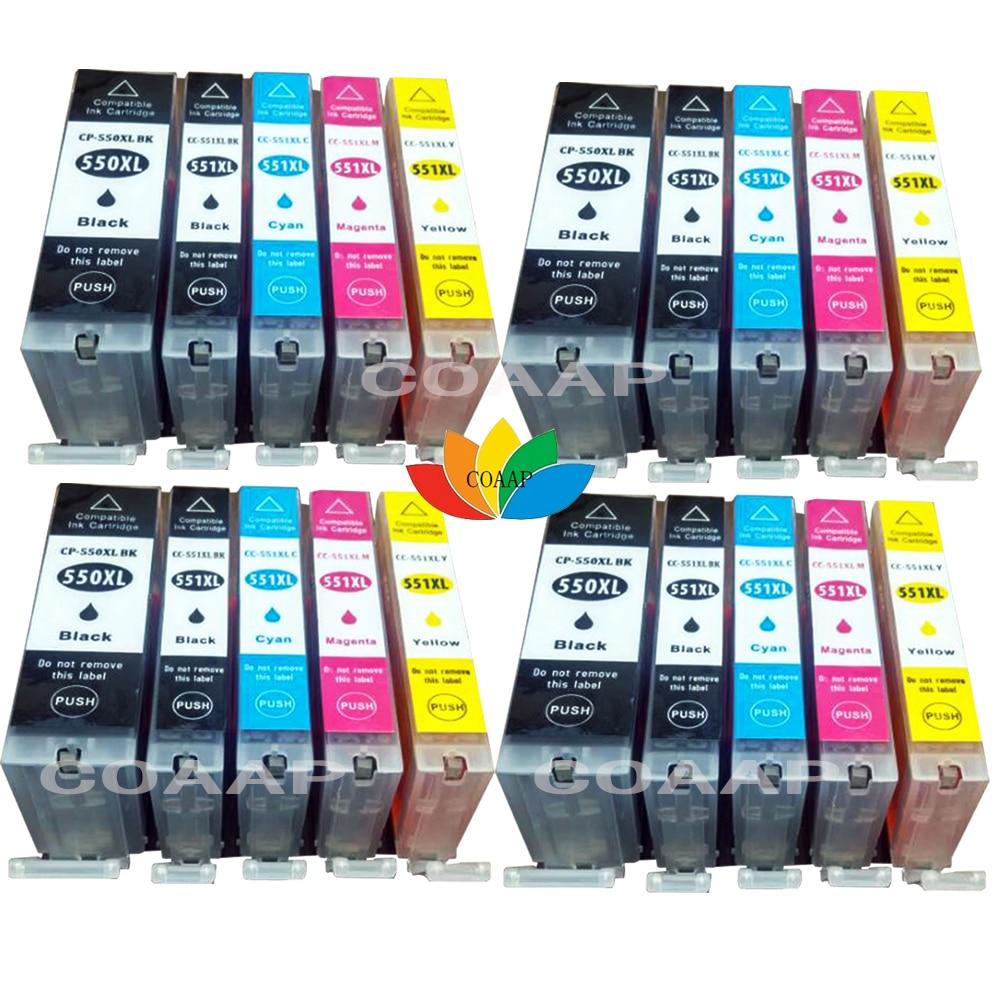 20 Ink Cartridge For PGI 550XL CLI 551XL Compatible Canon Pixma MG6600 MG5450 MG5550 MG6350 MG6450 MG7150 MX725 Printer
