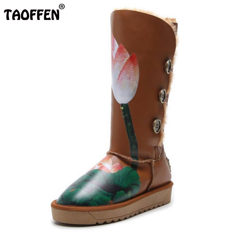 TAOFFEN Size 32-43 Winter Real Leather Snow Boots Women Warm Fur Inside Mid Calf Winter Boots For Women Floral Flat Botas double buckle cross straps mid calf boots