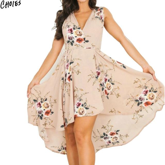 9057e64fa9e3 Apricot V Neck Floral Print Dipped Hem Pleated Mini Chiffon Dress Women  Sleeveless Tied High Waist Summer Casual Beach Wear