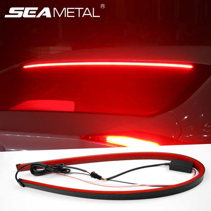 12V Car LED Strip Brake lights 90cm Rear Tail Warning Light High Mount Stop Lamp Flow Waterproof Auto Day Interior Accessories