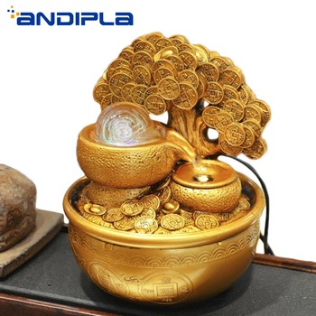 110/220V Creative Resin Water Fountain Gold Lucky Tree Rotating Crystal Ball Desktop Ornamental Fengshui Home Wedding Decoration