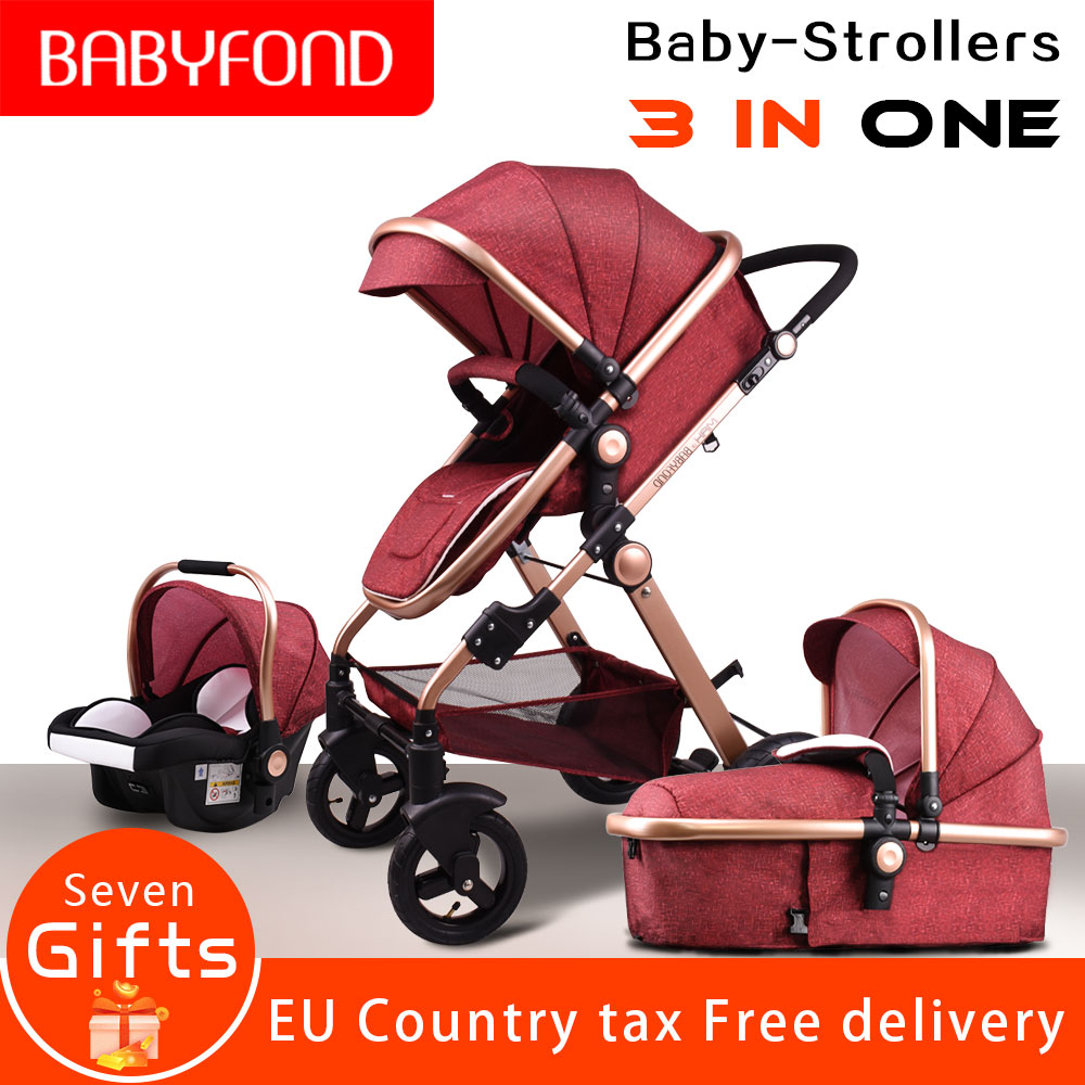 High Landscape Baby Stroller 3 in 1 Multi functional Lightweight folding stroller EU stroller baby gold baby stroller stroller 1 baby