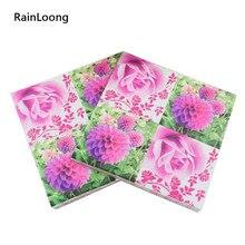 [Rainloong] flor impresso papel guardanapo para festas & festa fornecimento decoração tecido 33*33cm 1 pacote (20 unidades/pacote)