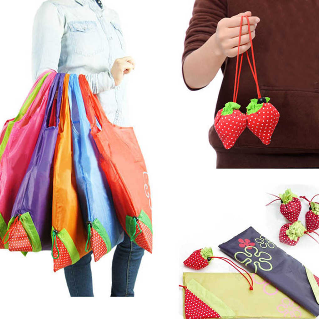 Feiqiong Strawberry Folding Reusable Storage Bag Recycling Use Shopping Bag