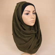 womens cotton linen mint green waving diamonds glitter hijab cap black muslim headscarf blue islamic scarves mother's day gifts