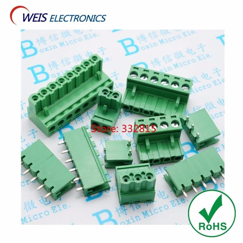 10sets 2EDG 5.08mm plug + socket 2P 3P 4P 5P 6P 7P 8P (90 degree bent LEG) splice connector terminal ROHS Free shipping