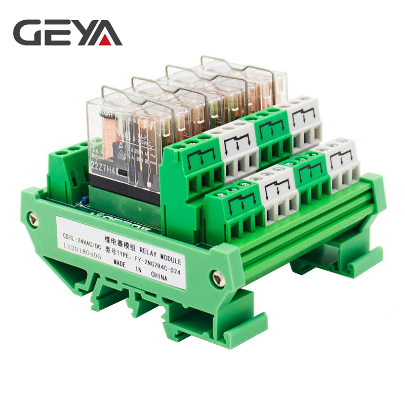 GEYA 2NG2R 4 Channel Omron Relay Module 2NO 2NC Electronic DPDT Switch 12V 24V Relay Board rotary knob dpdt 2no 2nc 8p 0 30seconds timing time relay dc 24v ah3 2