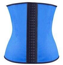 Mulheres livres do transporte De Borracha De Látex Cintura Cincher Underbust Corset Corpo Shaper Shapewear azul XS-3XL